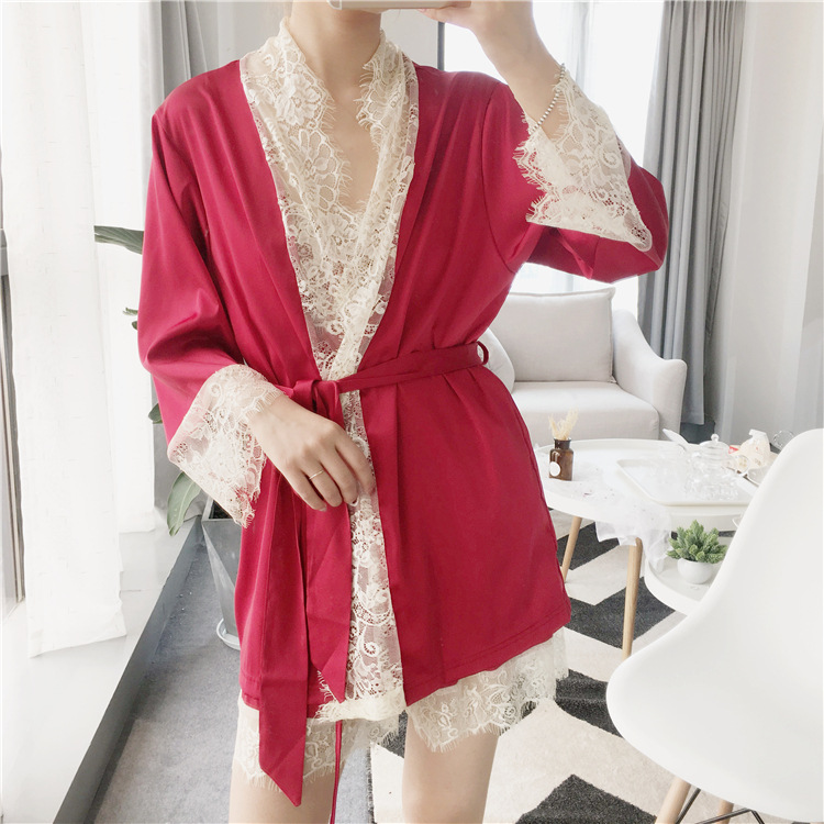 2017 summer home clothes four sets comfortable simulation silk satin lace soft Pajamas Set women