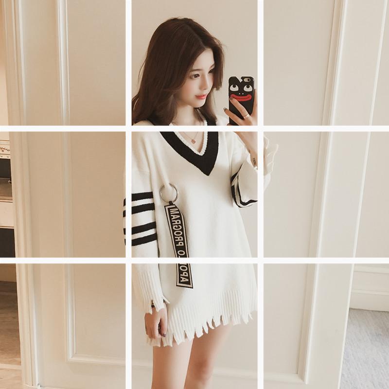 2017秋季新款韩版字母条纹长袖开叉针织衫上衣女装薄款打底毛衣潮