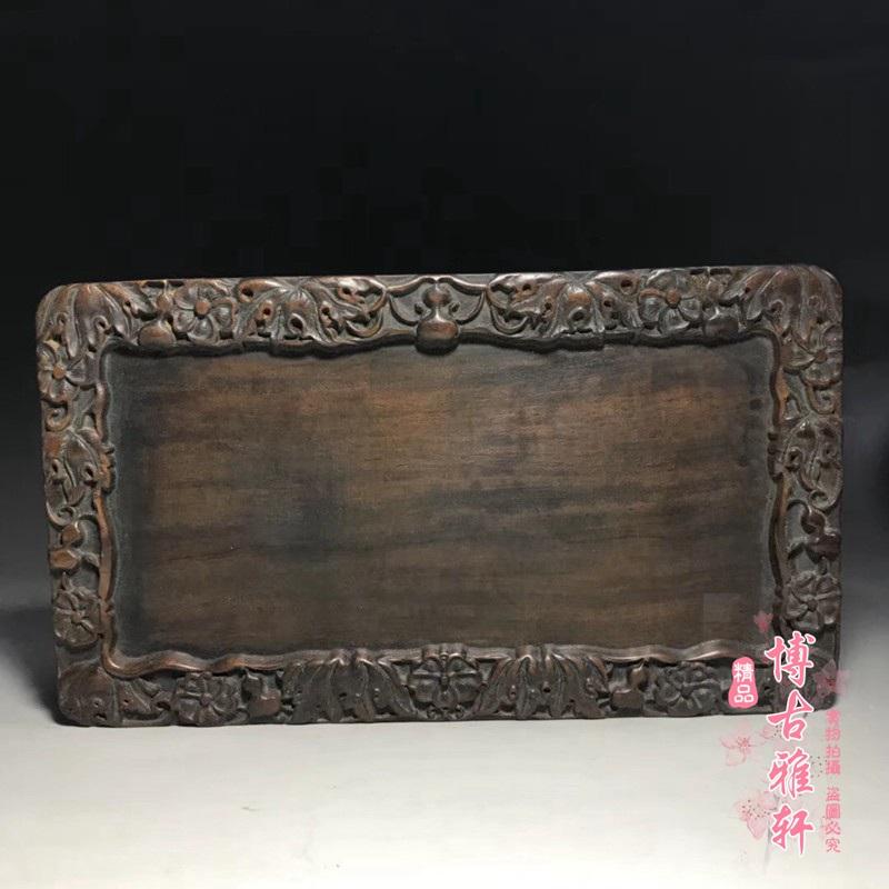 新品古玩雜項古董收藏天 然花梨木托盤木雕雕刻小茶盤老物件收藏