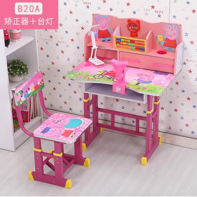 L'enfant les enfants de bureau en bois massif table d'apprentissage des élèves garçons avec une étagère domestique multifonction écritoire.