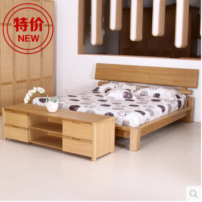 Special bedroom, solid wood double bed, 1.8 ash, high box, bed storage, Nordic simple e home, 1.5 meter wedding bed