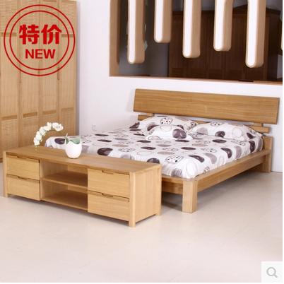 特価寝室材のダブルベッド1 . 8ヤチダモ高箱ベッド収納ベッド北欧シンプルe家1 . 5メートル婚ベッド