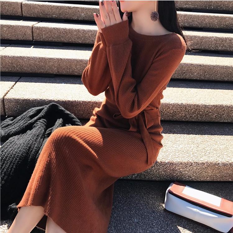 2017秋冬款复古淑女百搭宽松显瘦长袖系带打底针织毛衣连衣裙长裙