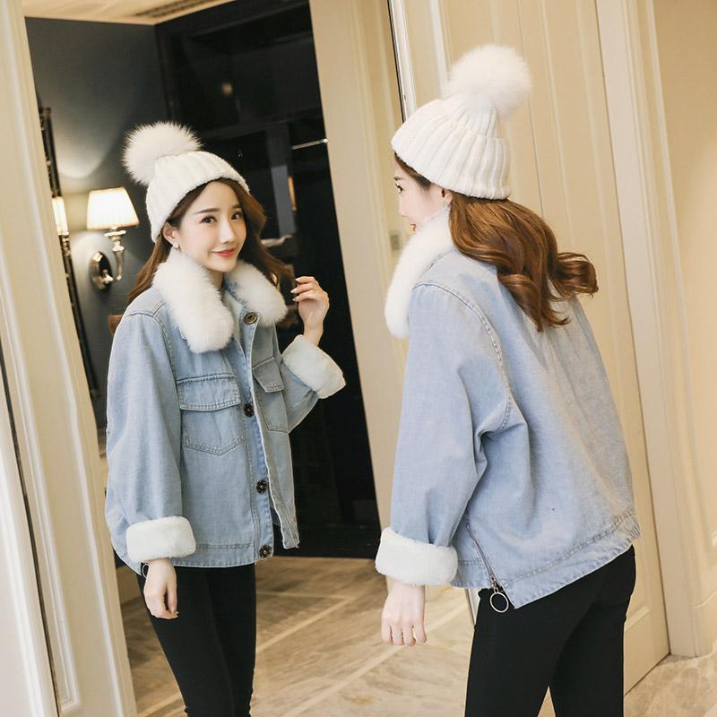 加绒牛仔外套女短款羊羔毛2017冬季新款韩版加厚狐狸毛大毛领外套