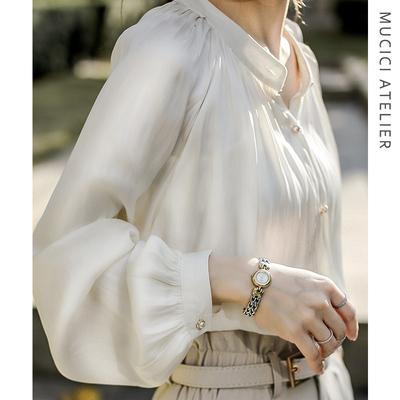 法式白色衬衫女春装2020款醋酸真丝绸缎面欧货衬衣复古宫廷风上衣