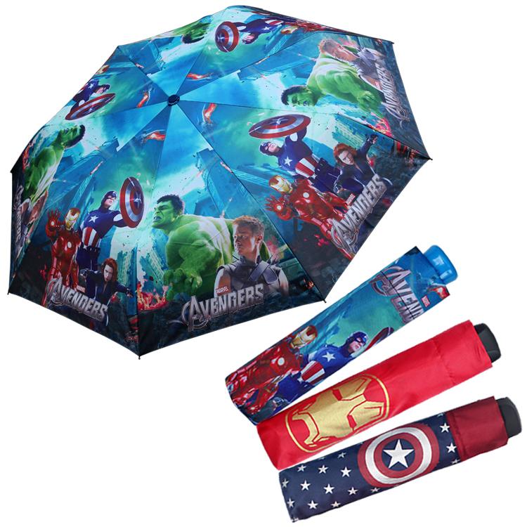 正儿童雨伞卡通动漫美国队长三折叠学生蜘蛛侠遮阳晴雨伞男童