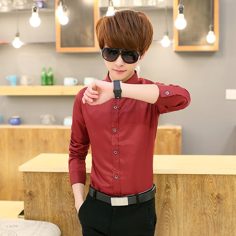 单件酒红长袖衬衫