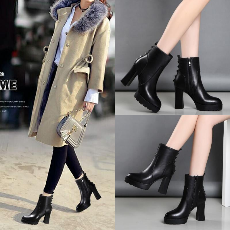 短靴女2017新款女靴冬季高跟粗跟真皮马丁靴棉鞋保暖加绒百搭靴子
