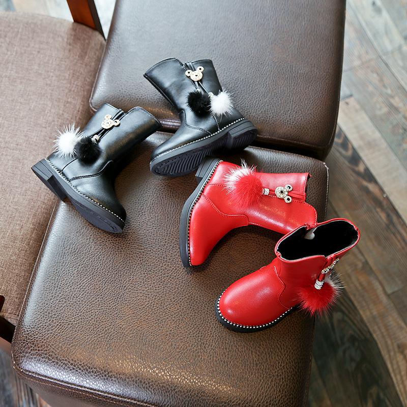 2017冬季新款女童靴韩版纯色时尚皮鞋拉链中筒靴套脚单靴公主靴潮