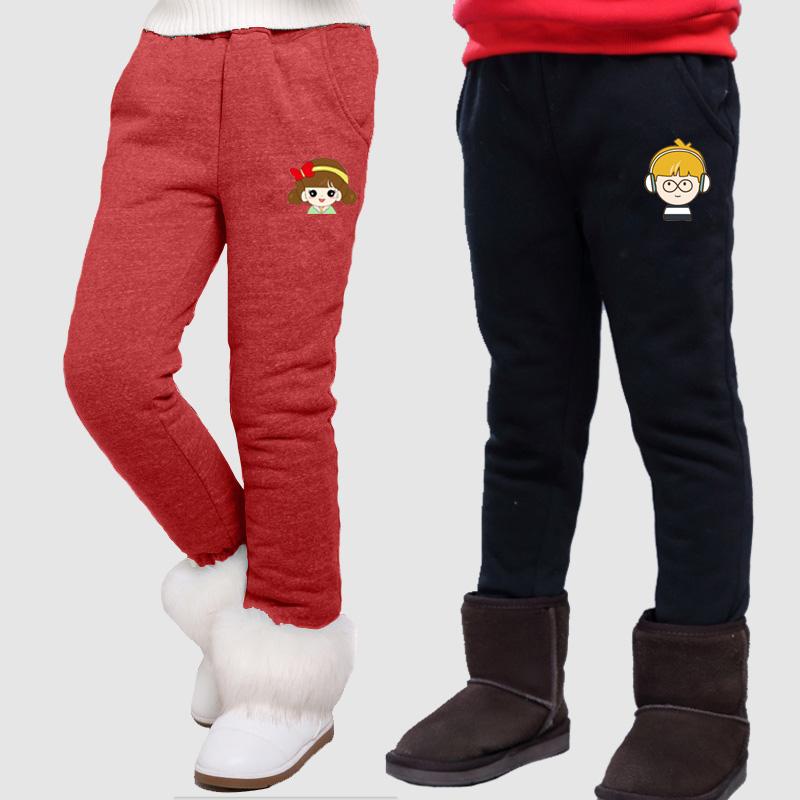 2017新款儿童长裤男童裤子加绒冬季加厚运动中大童夹棉裤外穿保暖