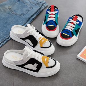 夏季新款学生百搭懒人小白鞋女包头半拖网红拖鞋女韩版女鞋