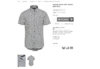 18夏 北欧设计师 印花  修身款 男士短袖衬衫原单