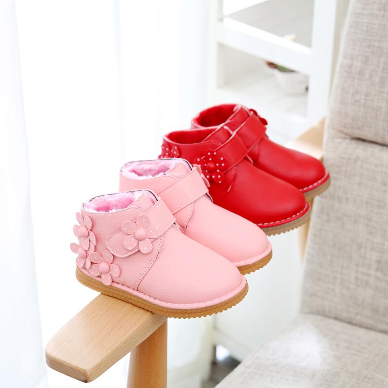 2017秋冬款女童鞋宝宝皮鞋0-1-2-3-4岁冬鞋儿童雪地靴保暖二棉鞋