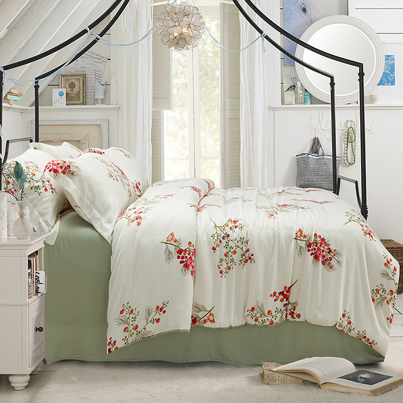 Rozene60 Tencel bedding pastoral activity printing 1.5 meters 1.8m four sets of spring and summer