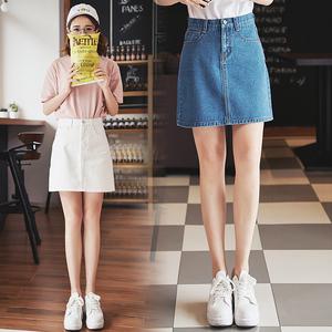 2017春夏韩国学院风复古高腰显瘦纯色A字牛仔短裙