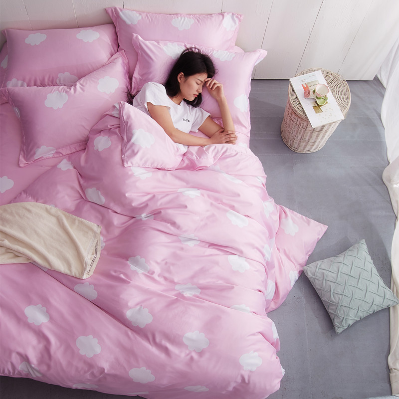 Double sided Tencel four piece Korean Pink Princess wind silk bedspread bedding naked lovely summer