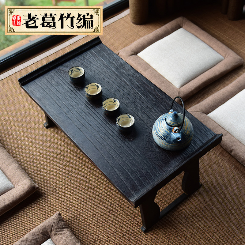 Tatami burn wood Paulownia tea table Kung Fu tea table Japanese small tea table bed boy table windows and a few Kang