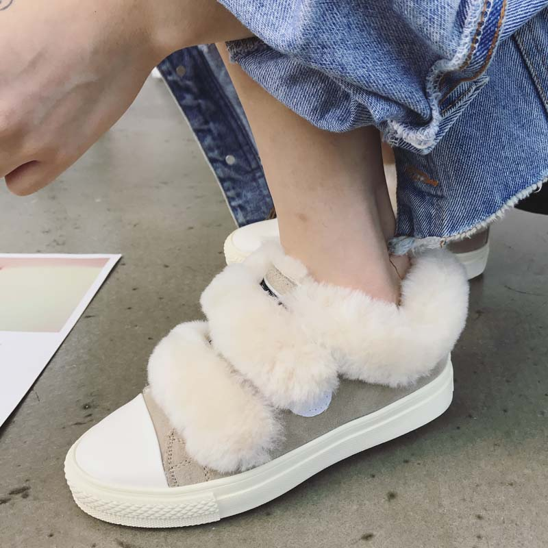 超可愛真皮羊毛魔術貼休閑鞋厚底毛毛板鞋加絨保暖棉鞋雪地靴女鞋