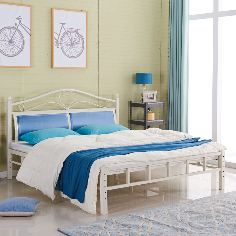 Folding bed double iron keel billion iron plate thicker steel soft encryption a blue gift mattress