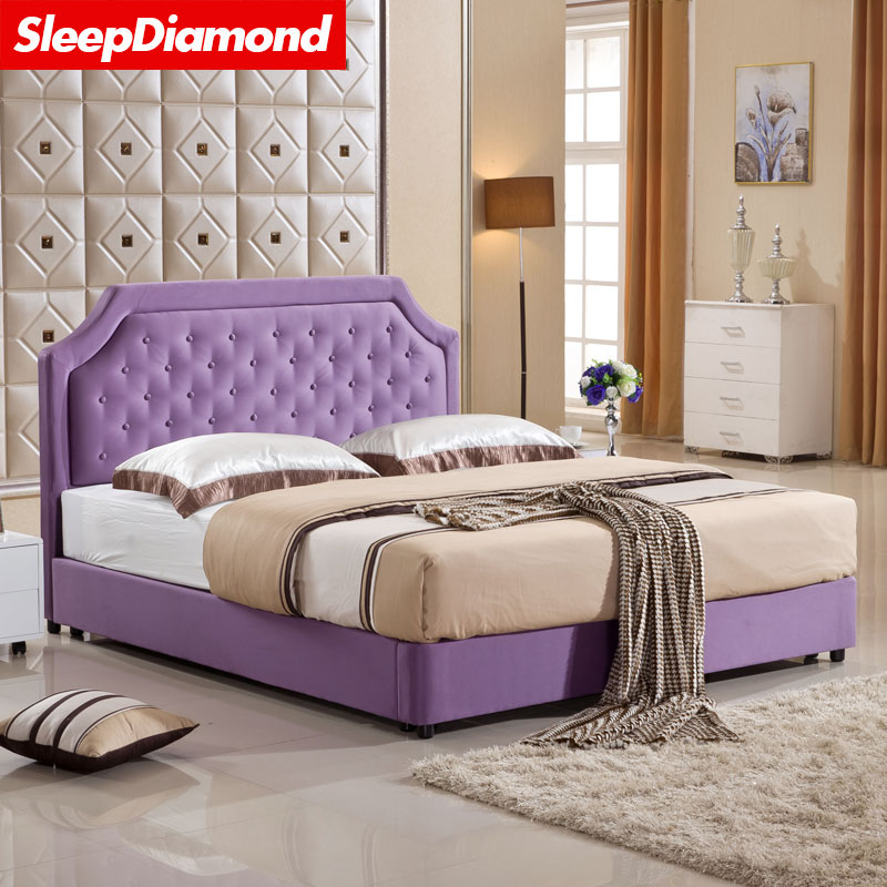 SleepDiamond small American style cloth bed double bed 1.5 meters Nordic garden bed furniture wedding bed 1.8
