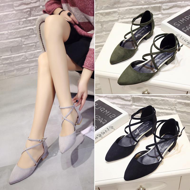 夏季罗马凉鞋绑带舒适低跟鞋3cm黑色学生尖头高跟鞋粗跟单鞋女春
