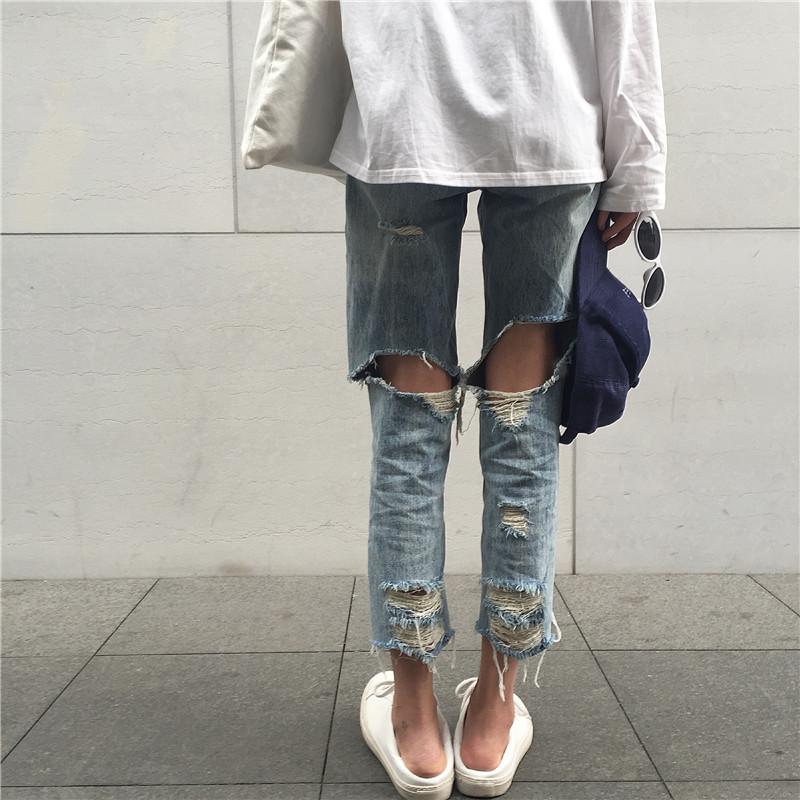 韩国休闲直筒裤女学生夏季七分裤BF港风牛仔裤前后拉丝破洞哈伦裤