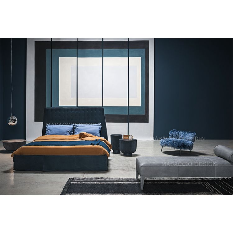 Italy modern design light luxury Nordic high-end custom new wood simple double bed BX17 Masaccio