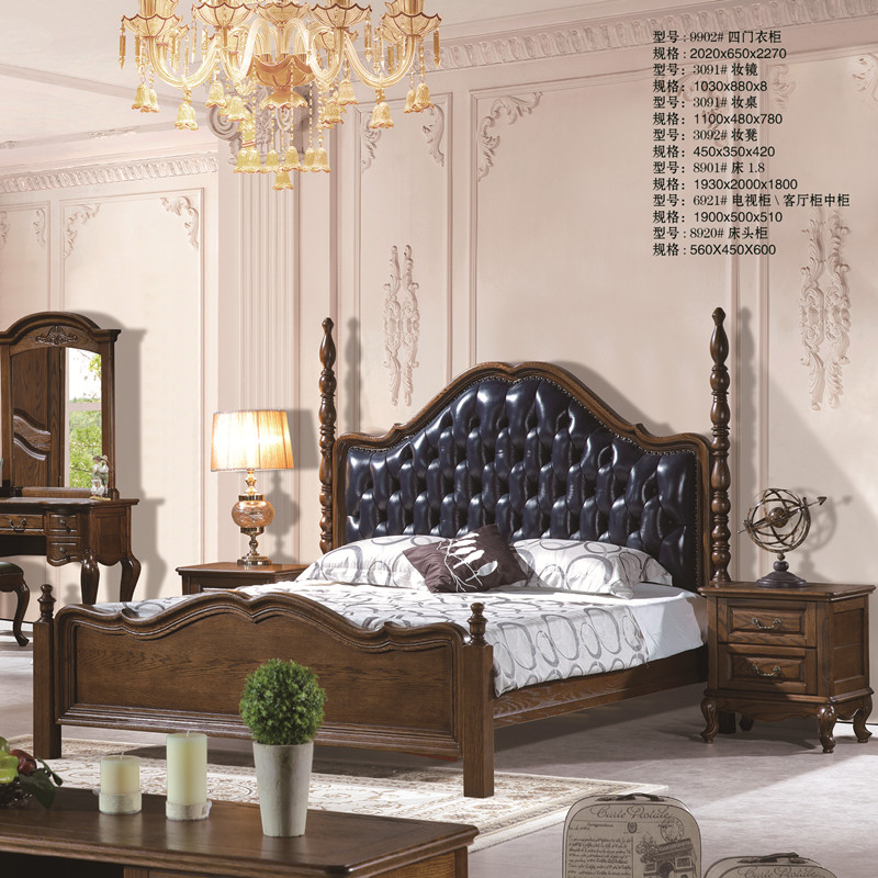 North American red oak, all solid wood American style sleeping bed, cowhide full leather, soft back double bed, 1.8 m bed