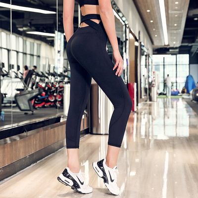 高腰瑜伽七分裤女紧身弹力显瘦运动健身房训练速干透气跑步裤夏季