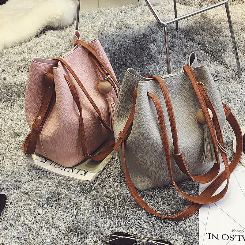 包包2017新款欧美时尚百搭流苏水桶包女包简约单肩大包斜挎手提包