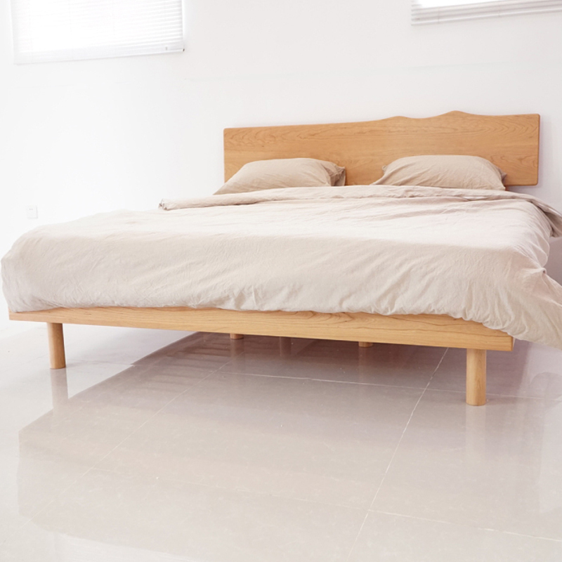 Nordic solid wood bed, Japanese style 1.5/1.8 meters, pure solid wood cherry double bed, simple bedroom, economical furniture