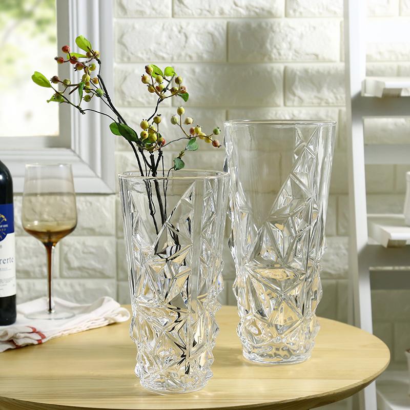 30一帆風順花瓶現代簡約加厚水晶玻璃花瓶百合玫瑰富貴竹插花花器客廳書房裝飾品
