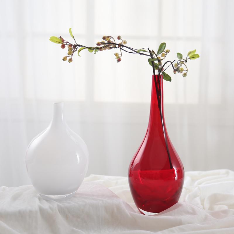 小號白色圓肚花瓶家居彩色玻璃花瓶 歐式客廳插花擺件創意收頸一支花裝飾品水培器