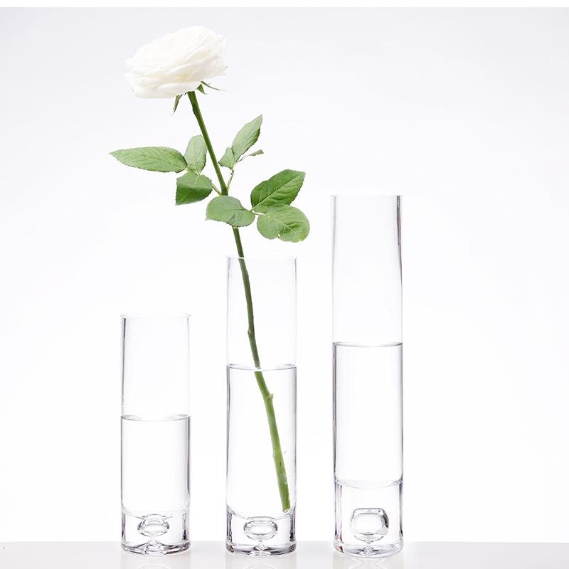 口徑6cm高20cm(加厚款)簡約現代加厚玻璃直通花瓶插百合玫瑰富貴竹花瓶結婚家用實用擺件