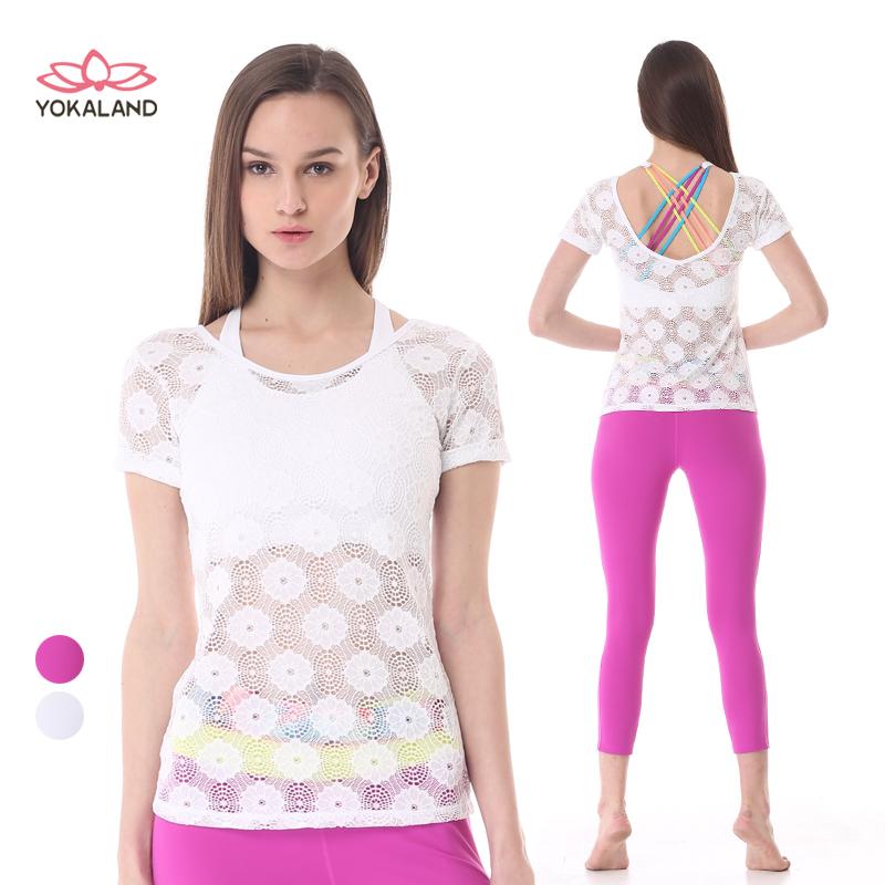 блузка с короткими рукавами преимущества 卡莲 йога одежда пальто женщин досуг кружева новые весной и летом на фитнес - за бега