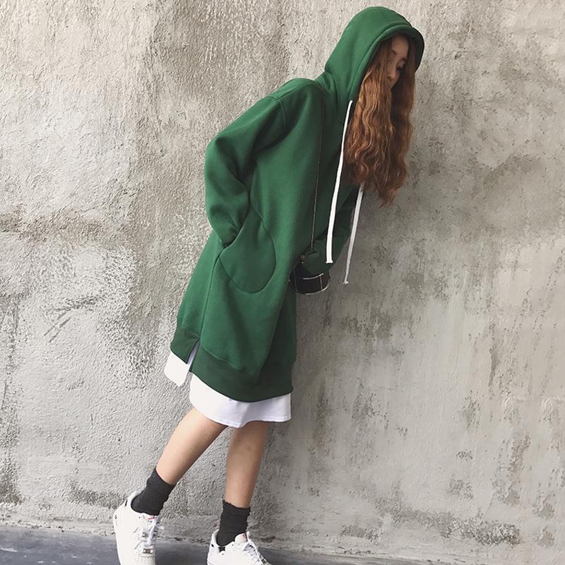 秋装新款韩版bf原宿风宽松中长款连帽加绒卫衣连衣裙女假两件裙子