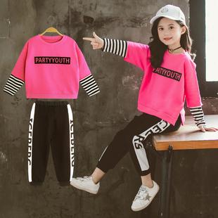 女童秋装新款洋气2019韩版两件套网红套装卫衣儿童时尚中大童时髦