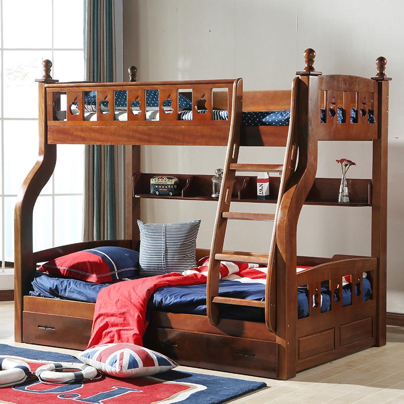 全木造くるみ木アメリカン児童を売る露店母ベッドに下に2段式ベッド母子ベッドの男の子の高低ベッド
