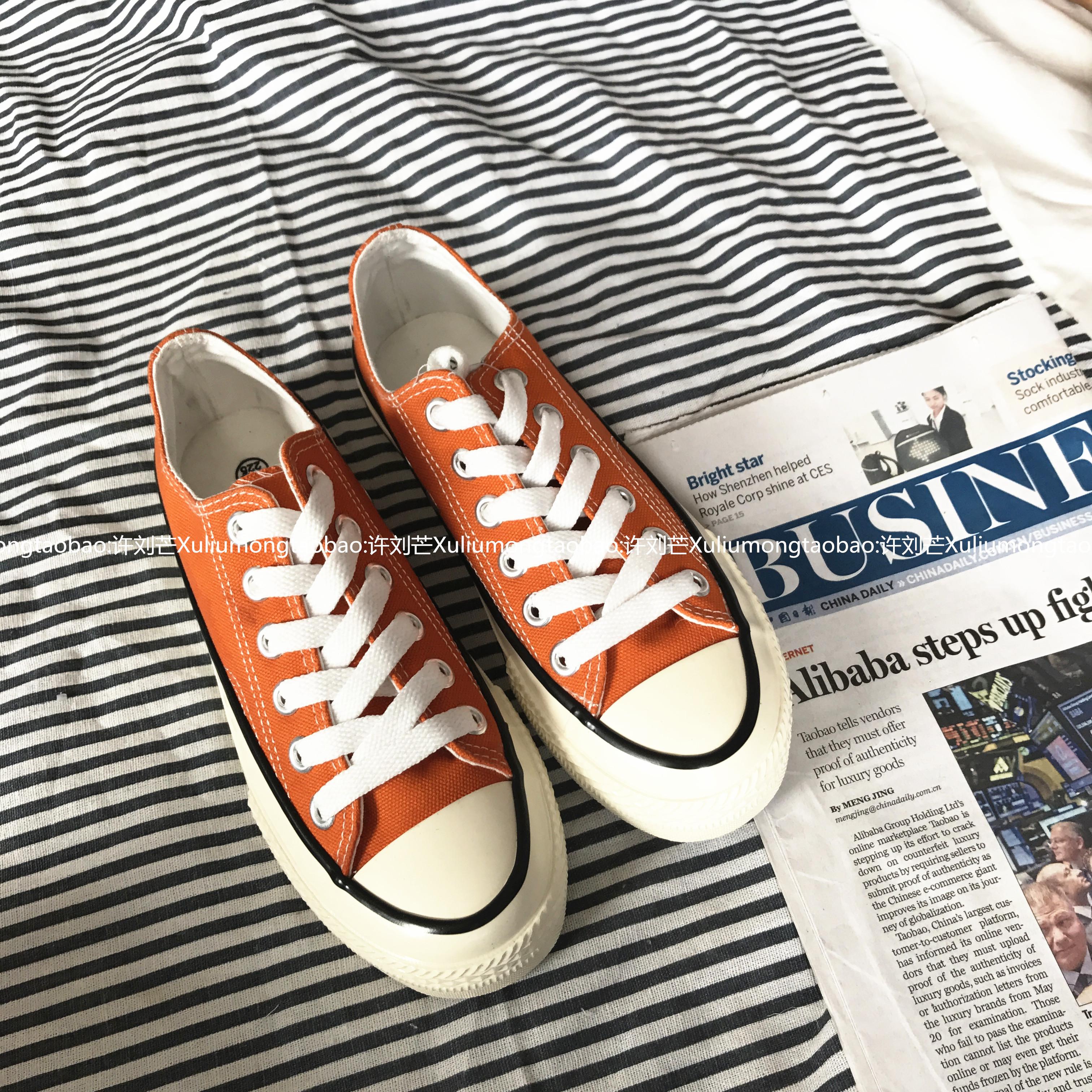 許劉芒 韓國街拍萬年經典款百搭復古1970s復刻橘色低幫帆布鞋女