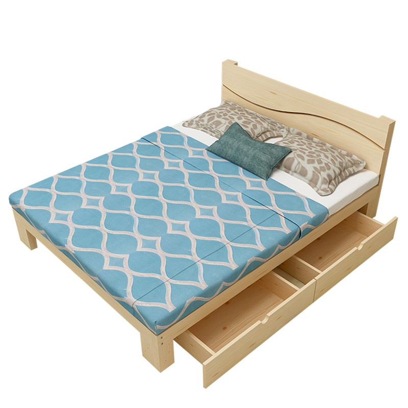 Simple solid wood head bed, single child bed rental, master bedroom bed, 1.21.51.8 meters double pine bed