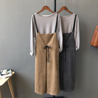 17, autumn and winter new Korean corduroy, suspenders, pants, women, seven points, pants, thin, conjoined pants