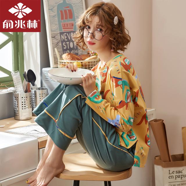 俞兆林春秋少女纯棉睡衣宽松学生家居服套装女全棉可爱卡通可外穿