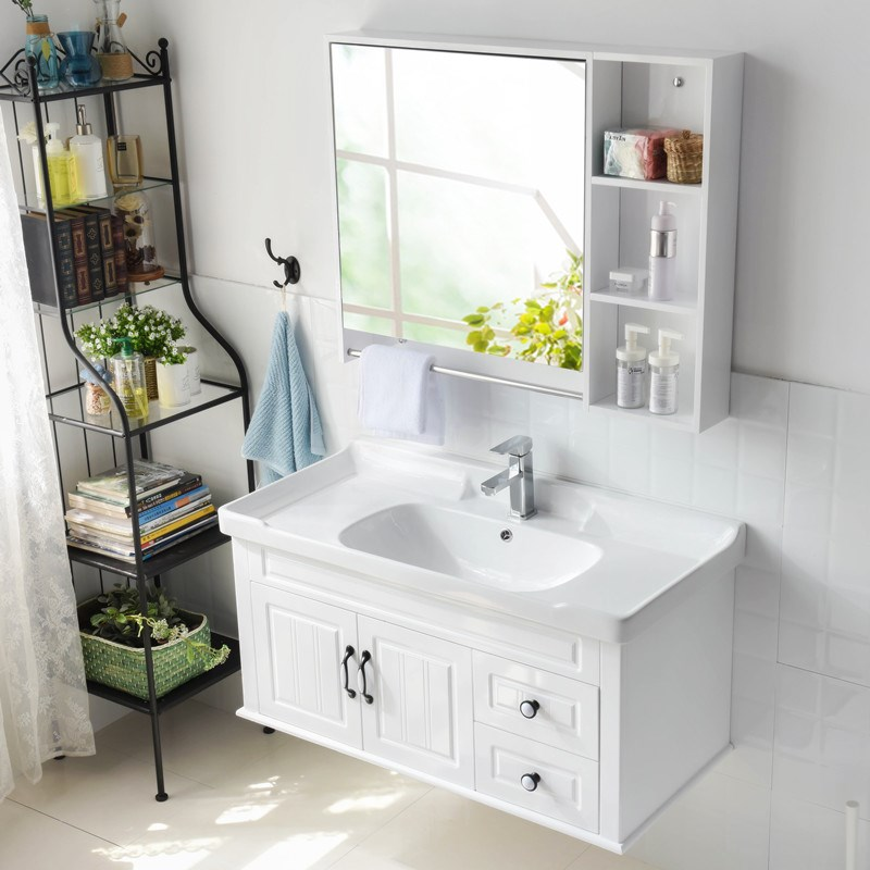 Bathroom AEM8G39 European style modern solid wood bathroom cabinet, combination rubber wooden hanging wall, upper basin pre washing platform