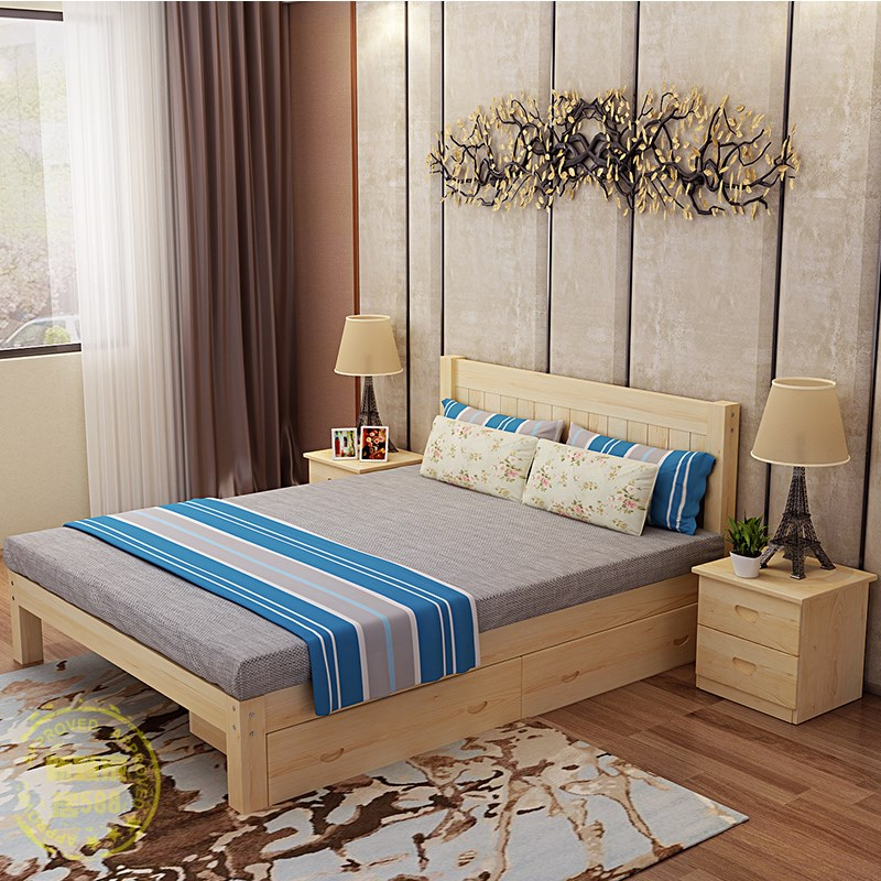 The new wood bed 1.8 double 1.5 adult single 1.2 pine log shipping all children simple tatami