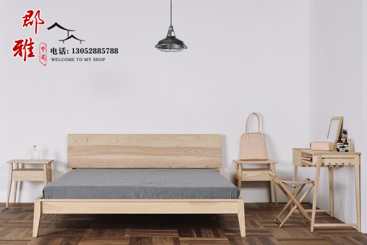 The new Chinese style villa double bed single bed solid wood bed modern minimalist Zen club model room bed, furniture