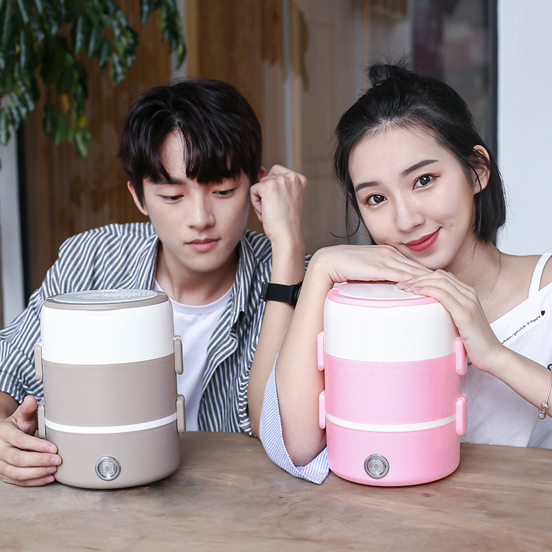 Treasure the food steamer can be hot water single lovely package automatic heating lunch box plug two ceramic