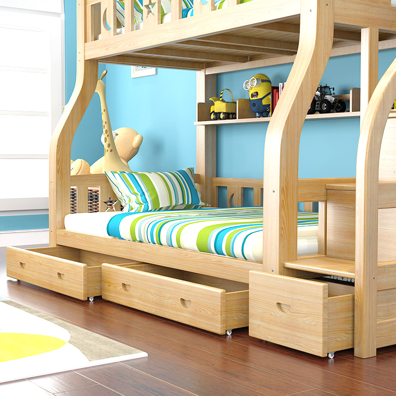 Low bed solid wood bed double bed bed bunk bed and adult children bed bed cluster boy