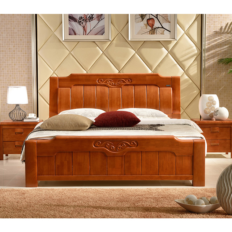 Solid wood beds, simple beds, 1.5m1.8 meters, Chinese simple oak beds, master bedroom, double beds, all solid wood beds