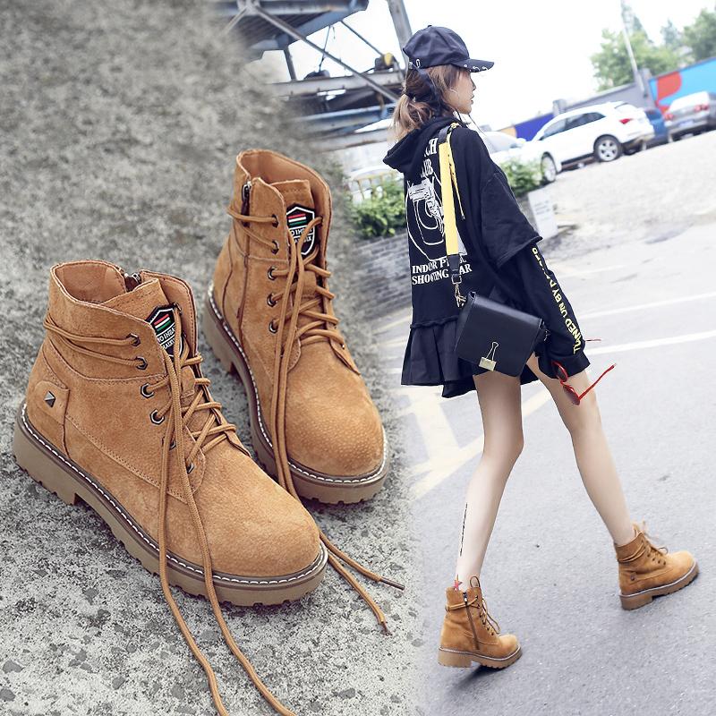 秋季復古馬丁靴女英倫風學生韓版平底百搭原宿風短靴鼕季加絨靴子