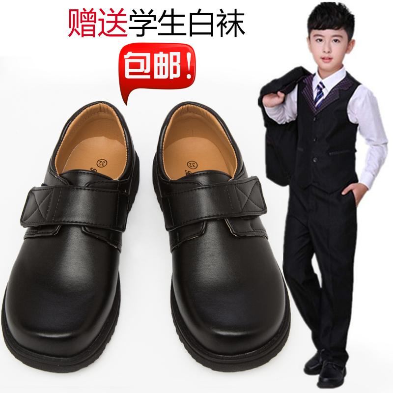 男童皮鞋黑色中大童英伦单鞋儿童学生演出系带小孩童鞋学生表演鞋